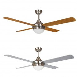 Wolf gray Modern ceiling fan 132 cm with 3-tone led plate and reversible blades in silver gray / light oak