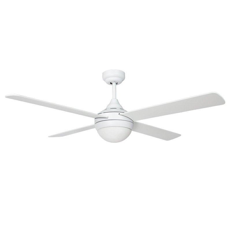 Ventilateur de plafond moderne 122 cm blanche et pales bi faces blanche / chêne avec télécommande