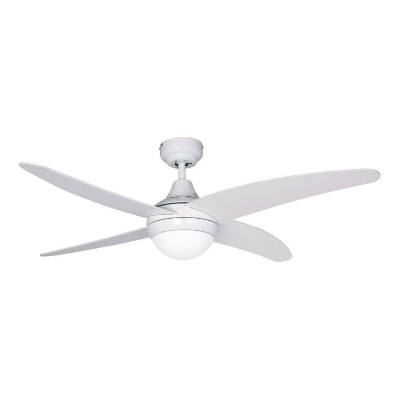 Elysa White, a Modern ceiling fan, with remote control and light, white blades.