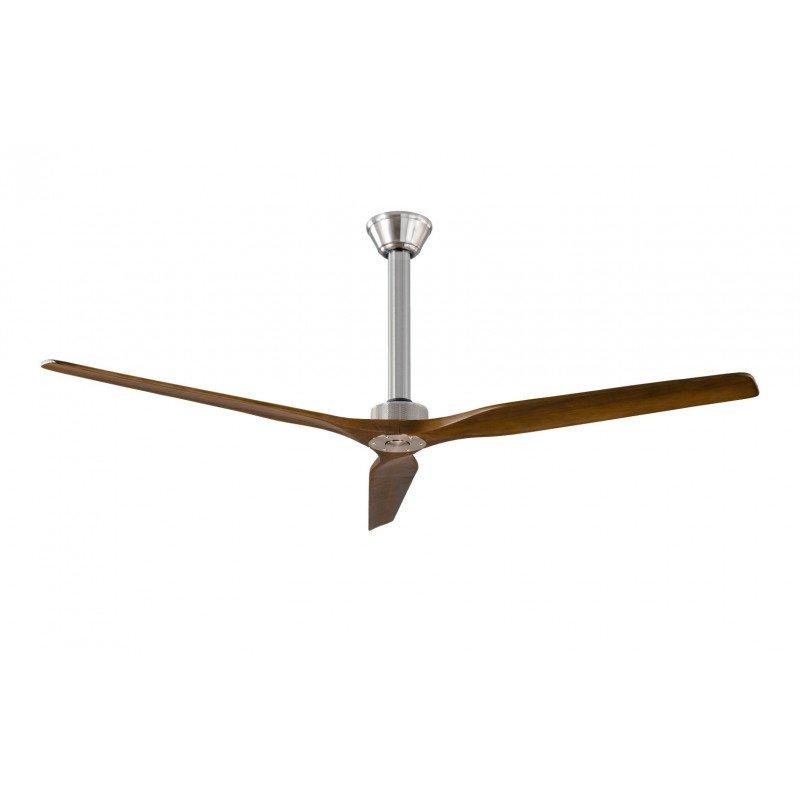 Softy un ventilateur de plafond DC 152 Cm design, pales bois noyer clair et chrome pour plafond hauts