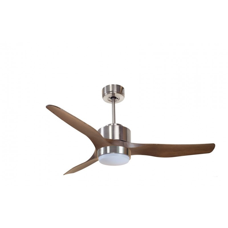 Modulo KlassFan, air destratification fan with light Chrom and wood for 25 to 40 m² KL_DC3_P4Wo_L1Ch