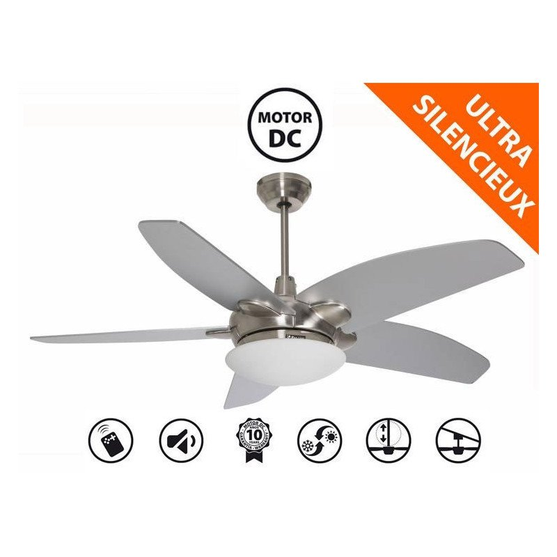 Ventilateur de plafond design chrome, led, télécommande, silencieux, purline by Klassfan Farou