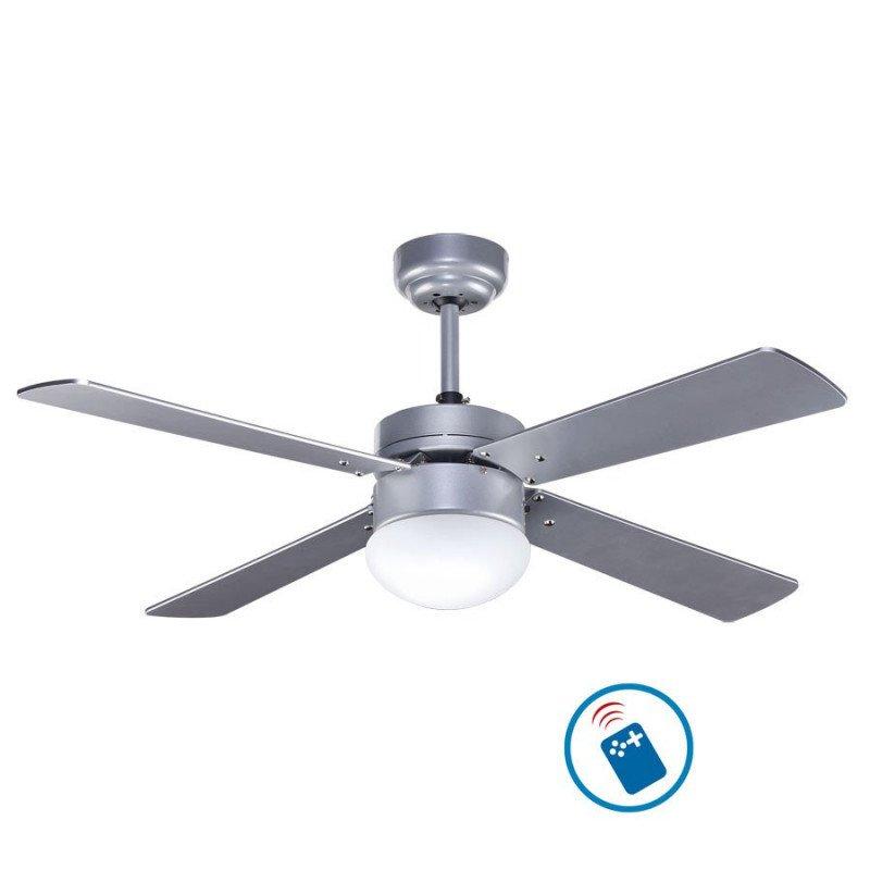 Ventilateur de plafond 107 cm avec télécommande et lampe intégrée - LIBEtronic SILVER - Pales argenté.