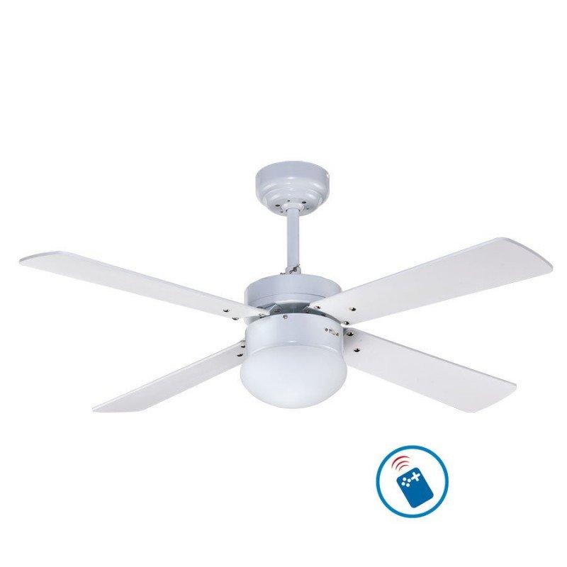 Ventilateur de plafond 107 cm avec télécommande et lampe intégrée - LIBEtronic White- Pales blanches.