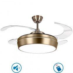Ventilateur de plafond pales escamotable et lumière puissante