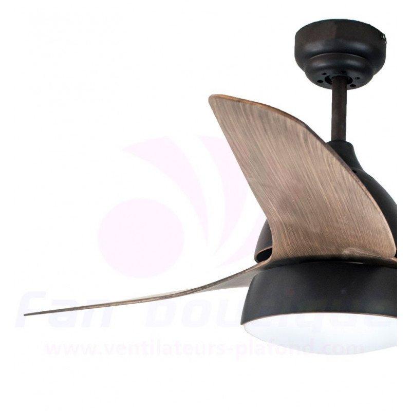 Ventilateur de plafond moderne avec lumière, telecommande couleur rouille et pales noires