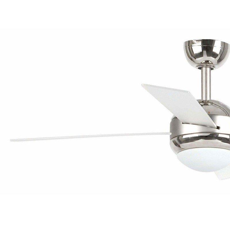 Ventilateur de plafond moderne nickele mat 107 cm avec lampe,télécommande IR, FARO HONOLULU 33347