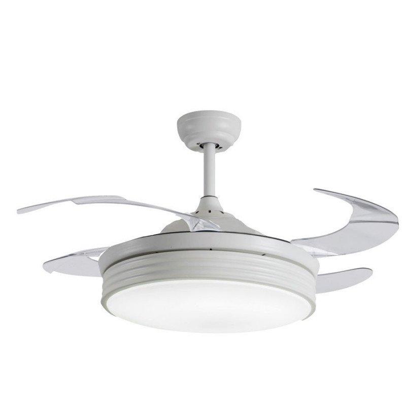 Shiva Ventilateur de plafond pales escamotable connecté et lumière puissante