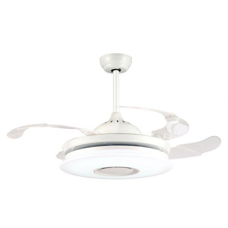 MASTERSOUND de Lba Home Ventilateur de plafond blanc 107 cm pales escamotables transparentes point lumineux dimmable hyper puiss