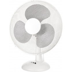 Ventilateur de table 40 Cm, blanc 3 vitesses avec grille de protection, oscillant.