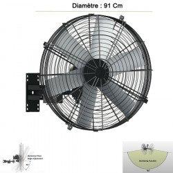 Brasseur d'air mural oscillant de 91 Cm de diamètre puissance 750 w pour 80 m².