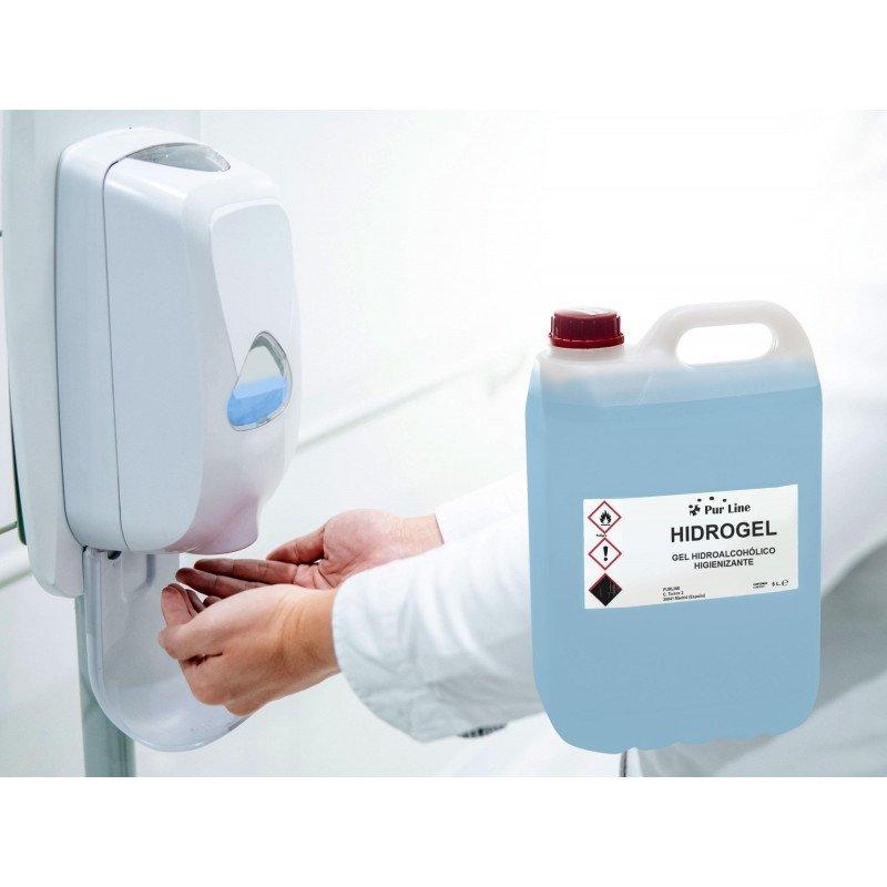 Gel hydroalcoolique conditionnée en bidon de 5 litres