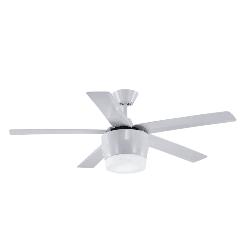 Ventilateur de plafond moderne blanc 132 cm avec lampe,télécommande IR,