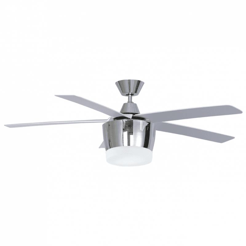 Ventilateur de plafond moderne chrome132 cm avec lampe,télécommande IR,