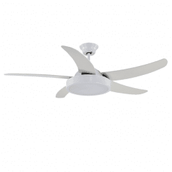 Ceiling Fan, modern, white, 105 cm. with light, IR remote control, FARO EASY 33415