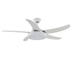 Ventilateur de plafond moderne blanc 132 cm avec plaque led , télécommande