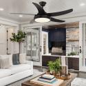Ventilateur de plafond moderne marron132 cm avec lampe,télécommande IR,