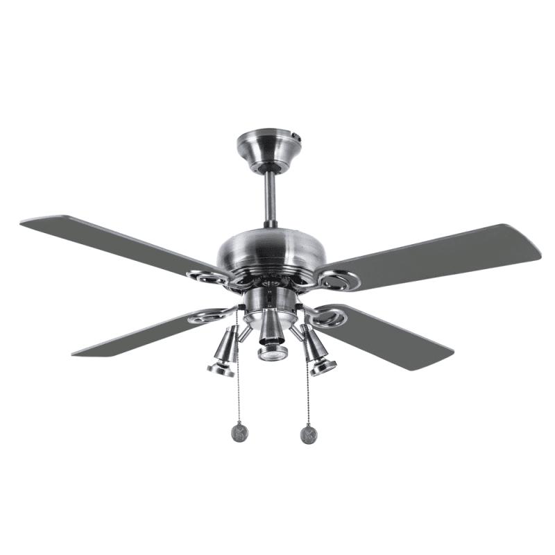 Ventilateur de plafond moderne Nickel argent 107 cm ,3 spot GU10 télécommande