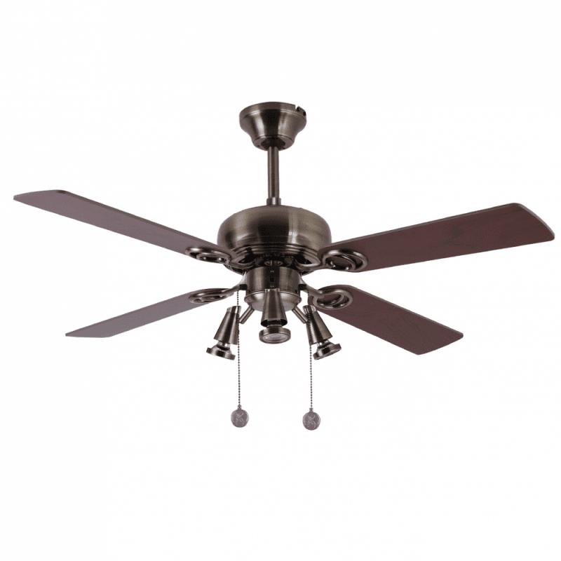 Ventilateur de plafond moderne cuivre marron 107 cm ,3 spot GU10 télécommande