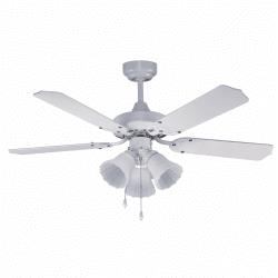 Ceiling Fan, modern, white, 105 cm. with light, IR remote control, FARO EASY 33415