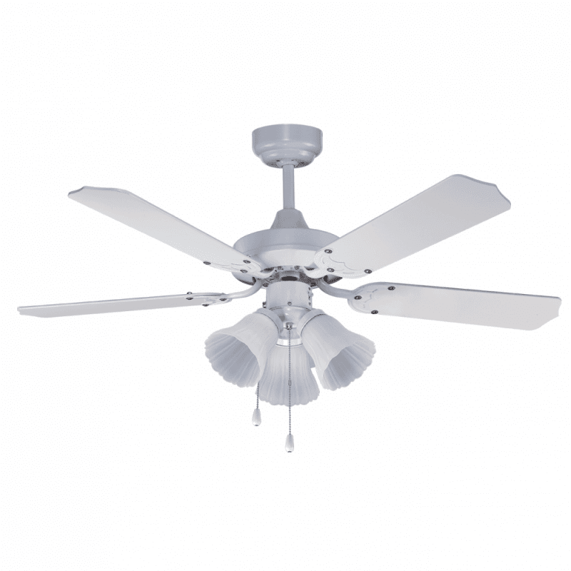 Ventilateur de plafond classique blanc 107 cm ,3 ampoules E27 télécommande