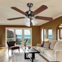 Ventilateur de plafond classique marron 107 cm ,3 ampoules E27 télécommande