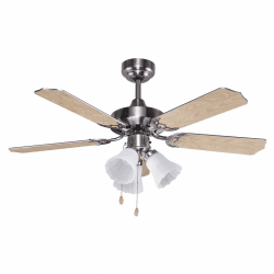Ventilateur de plafond classique marron bois clair107 cm ,3 ampoules E27 télécommande