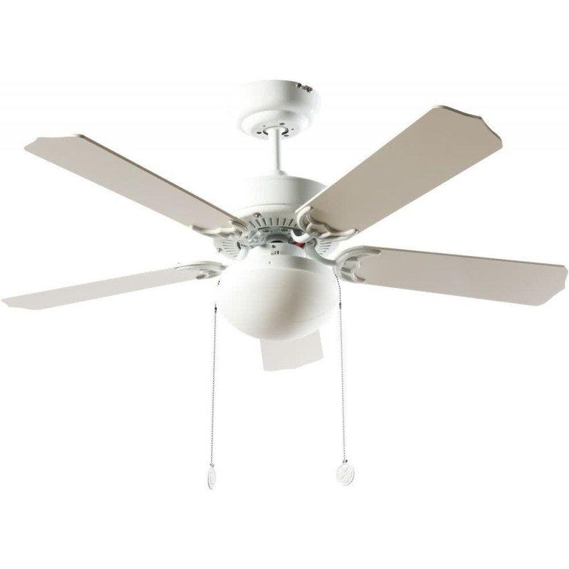 Ventilateur de plafond classique blanc 107 cm ,2 ampoules E27 télécommande