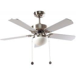 Ventilateur de plafond classique argent 107 cm ,2 ampoules E27, tirette ,télécommande