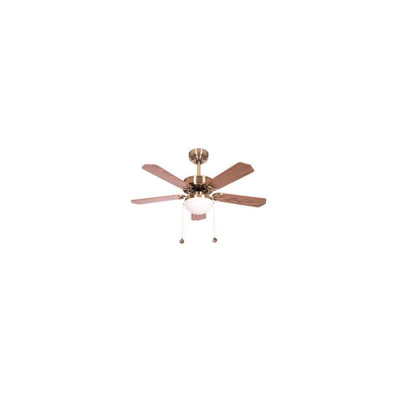 Ventilateur de plafond classique marron cerisier 107 cm ,2 ampoules E27, tirette ,télécommande