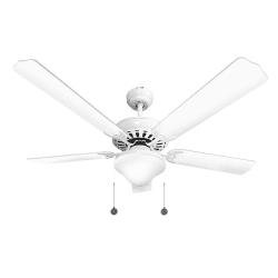 Ventilateur de plafond classique blanc 132cm ,2 ampoules E27, tirette ,télécommande