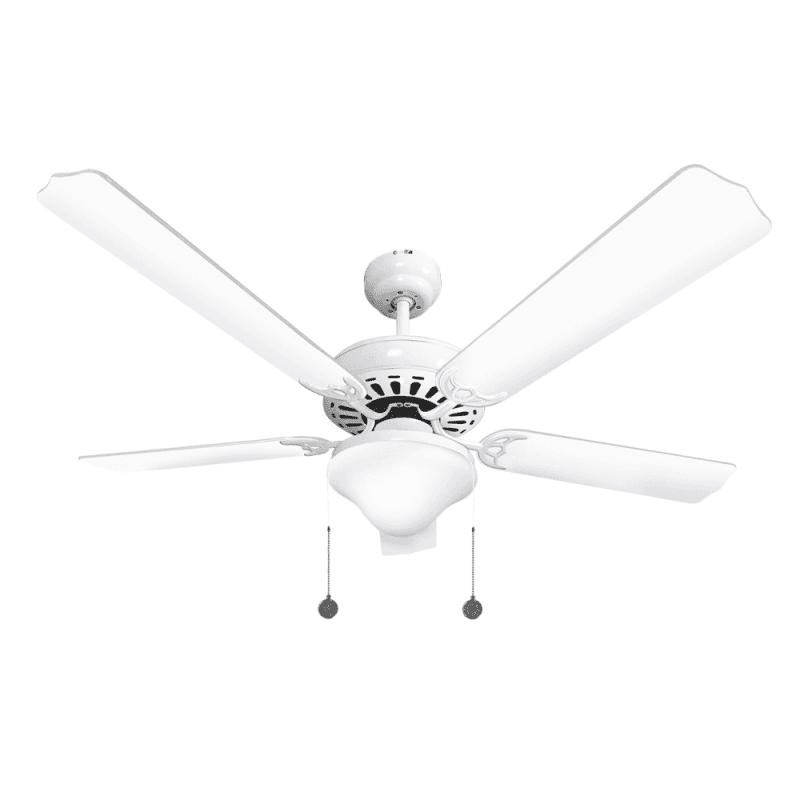 Ventilateur de plafond classique blanc 132 cm ,2 ampoules E27, tirette ,télécommande