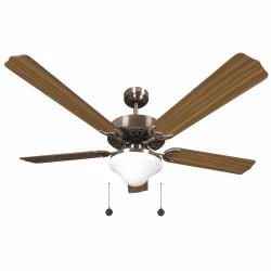 Ventilateur de plafond classique marron 132cm ,2 ampoules E27, tirette ,télécommande