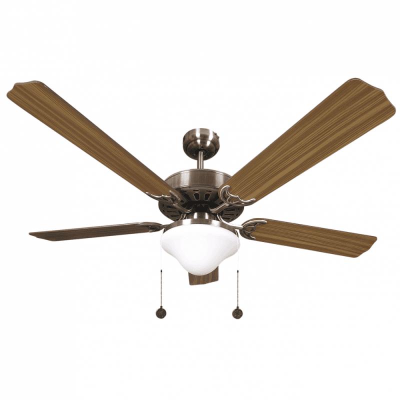 Ventilateur de plafond classique marron -132 cm ,2 ampoules E27, tirette ,télécommande