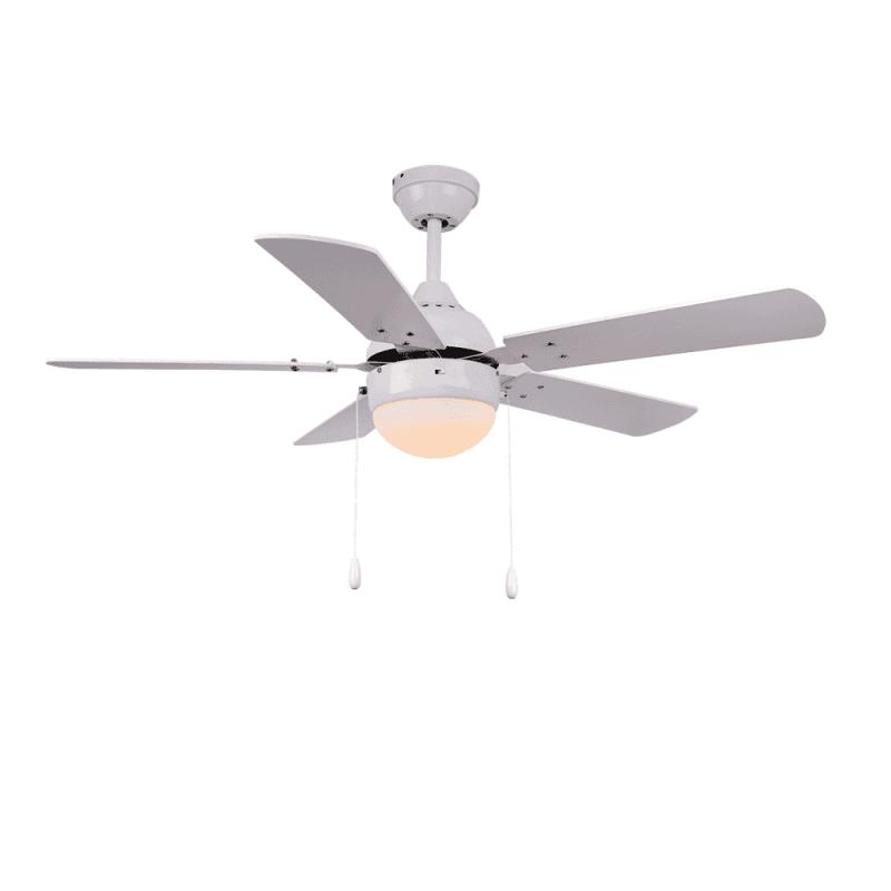 Ventilateur de plafond moderne blanc 106 cm ,1 ampoules E27, tirette ,télécommande