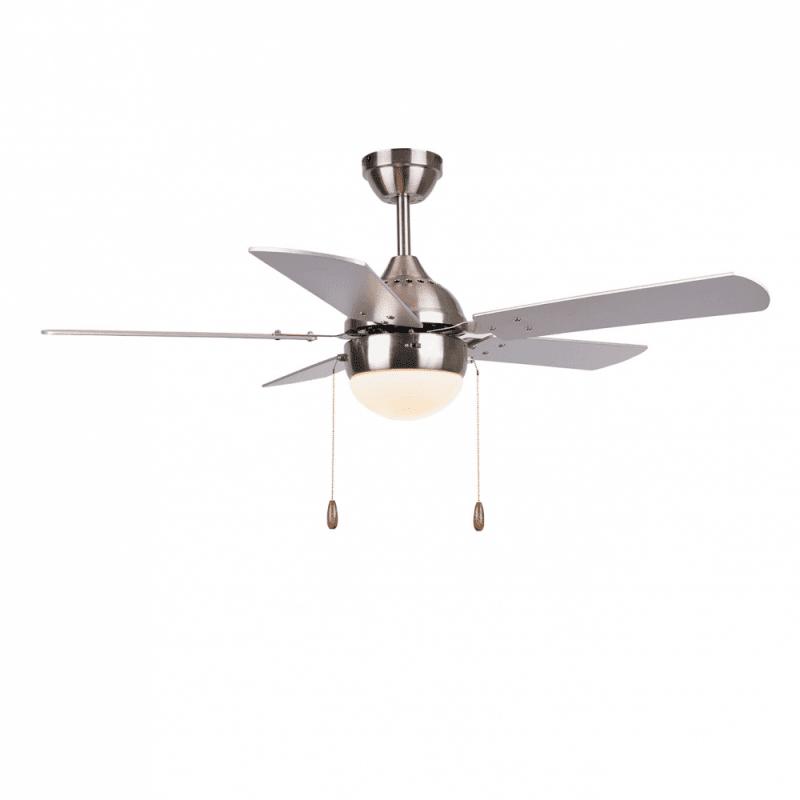 Ventilateur de plafond moderne argent 106 cm ,1 ampoules E27, tirette ,télécommande