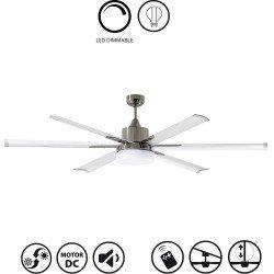Ventilateur de plafond très grande taille moderne , Led variateur d' intensité,bi ton-DC 210 cm NORTH STAR, Chrome et blanc
