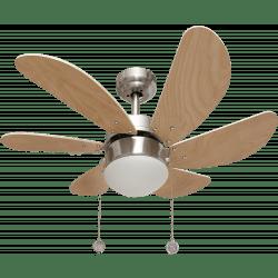 Ventilateur de plafond moderne Colores nickel hêtre 85 cm