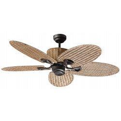 Потолочный вентилятор 132 см, 3 мощные света, серые серебряные лопасти.