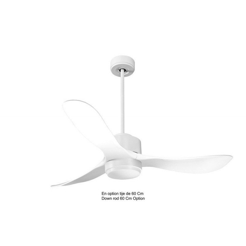 Modulo de KlassFan - Ventilateur DC de plafond sans Lumière Blanc laqué et bois idéal pour 25 à 40 m² KL_DC4_P3Wi