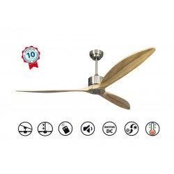 Ventilateur de plafond, super destratificateur moteur DC, 166 Cm pales bois , thermostat, ultra silencieux, Wifi, Latino II