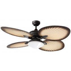 Ventilateur de plafond 130 Cm Bali avec lumiere, pales en forme d' éventail traditionnel en feuille de palmier.
