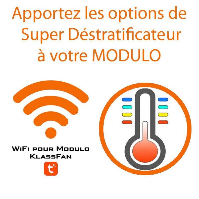 Contrôleur Wifi pour Modulo de Klassfan, dans sa version déstratificateur et ventilateur powered by Tuya Smart.