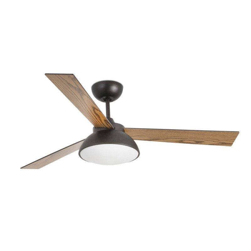 Rodas LED de Faro un ventilateur de plafond DC moderne blanc laqué avec pales bois naturel