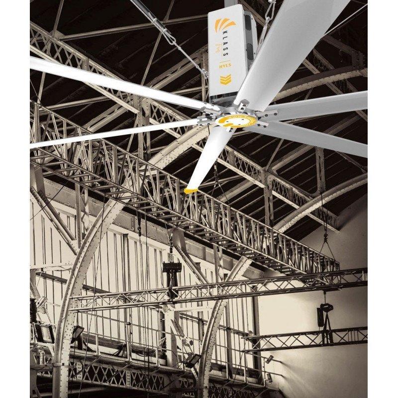 HVLS AC Stator OM-KQ-7E 380V. Ventilateur de plafond industriel 7,3m. Couverture ultra efficace de 1800m².