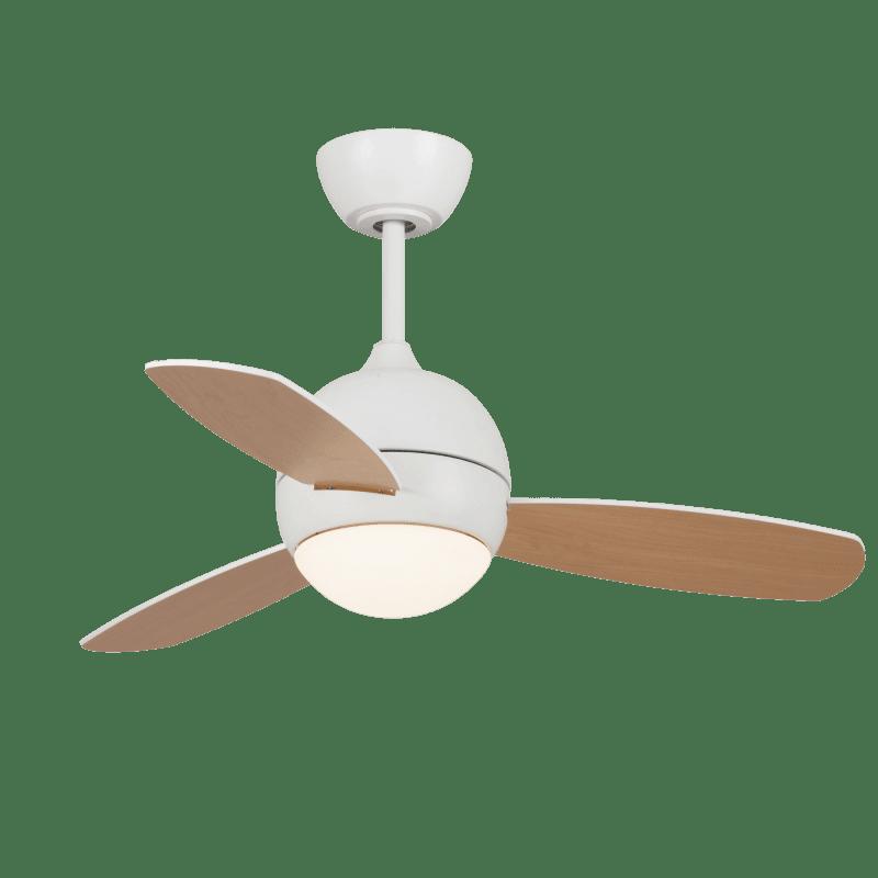 Ventilateur de plafond design Libellula bois clair et blanc