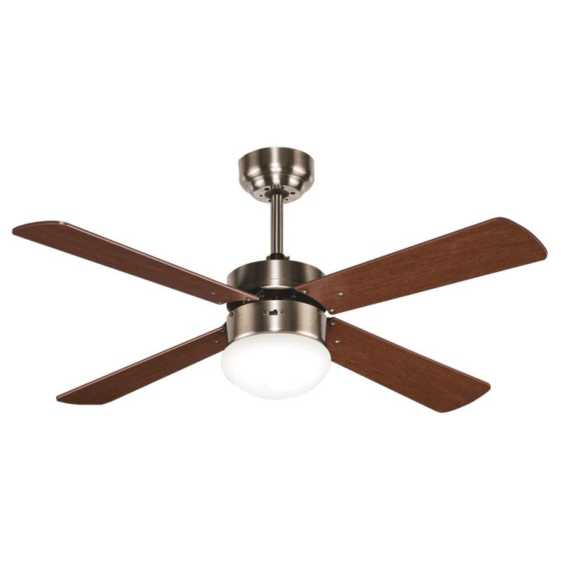 Ventilateur de plafond 107 cm avec télécommande et lampe intégrée , Libelle, pales réversible cerisier et noyer , moteur cuivre