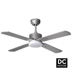 Ventilateur de plafond DC 107 cm avec télécommande et lampe intégrée - Sévilla Pales argent
