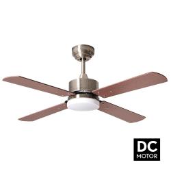 Ventilateur de plafond DC 107 cm avec télécommande et lampe intégrée - Sévilla Pales cuir cerisier, noyer