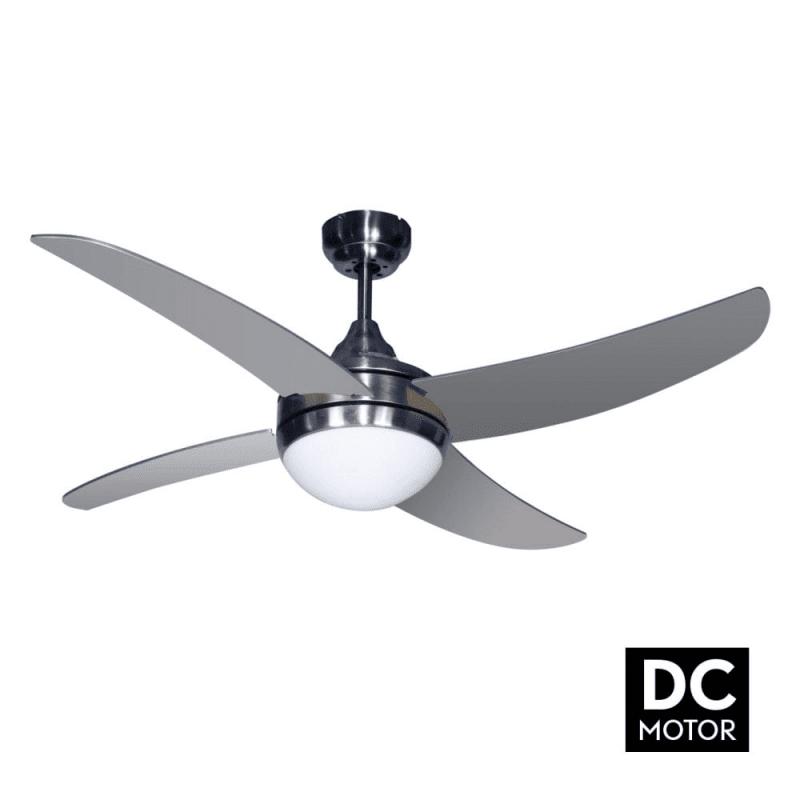 ArtusDCSilverLba home un ventilateur pour chambre avec télécommande et point lumineux.